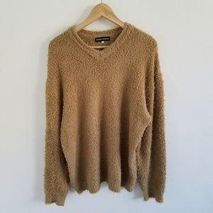 Amaya Arzuaga Camel Soft Fuzzy Teddy Bear Sweater